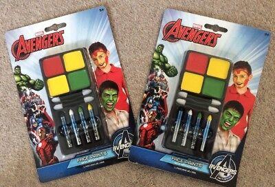 2x Marvel Avengers Colori Per Il Viso Con Applicatori-mostra Il Titolo Originale