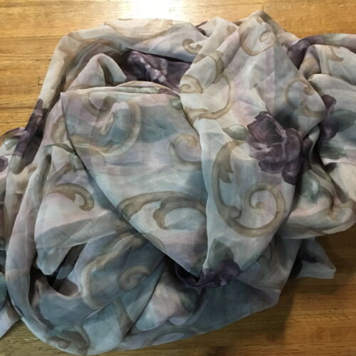 CROSCILL Sheer Valance/Swag/Scarf CHAMBORD Floral/Gold/ Amethyst 40 X 216
