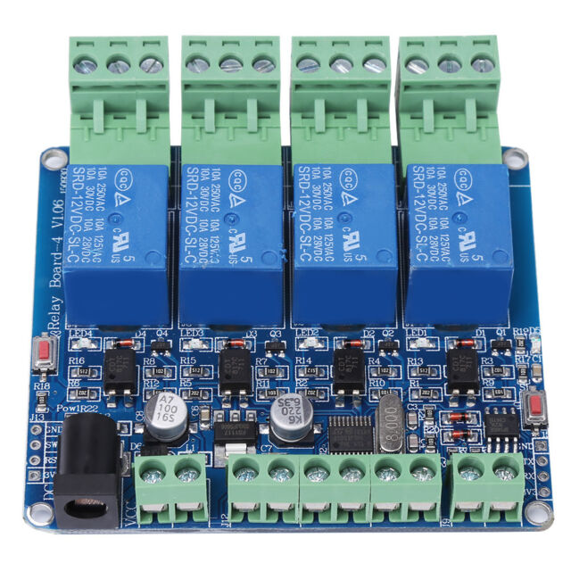 Dc 12v 4 Channel Relay Board Stm8s103f3 Microcontroller Rs485