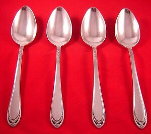 1847-Rogers-Lovelace-4-Silverplate-Oval-Soup-Spoons-EXC