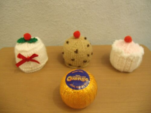 3 Chocolate Orange covers knitting pattern  Christmas Cake  Currant Bun  Cupcake