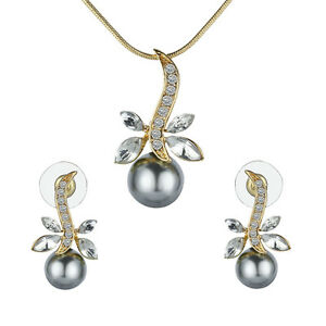 1 Set Elegant Crystal Dragonfly & Pearl Gold Plated Necklace & Earring Jewelry