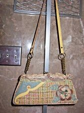 MARY FRANCES BEADED 3-D FLOWER PASTEL TWEED KISS LIP SHOULDER BAG~PURSE~SPRING!