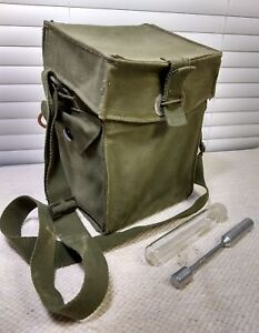 Details about Army Green Canvas Field Sample Carrying Bag w Test Tube /  Vintage Geology Gear