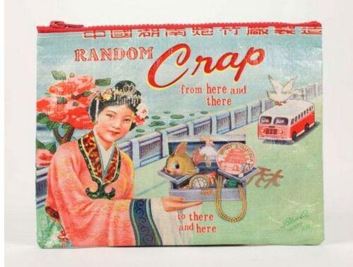 """Blue Q /""""Random Crap/"""" large zipper pouch case bag eco recycled vintage art"""