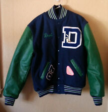 neff usa woolleather letterman school jacket size m medium blue green
