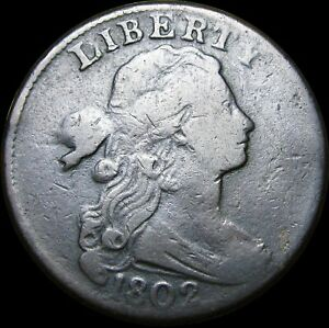 1802-Draped-Bust-Large-Cent-Penny-Nice-Type-Coin-K453