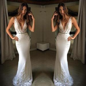 Mermaid V Neck Lace Satin Wedding Dress White Ivory Sleeveless