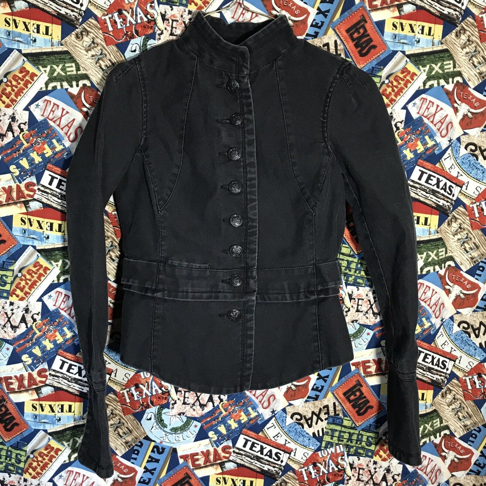 Free People Button Up Military Black Cotton Cropped Moto Jacket Women's 4 XS