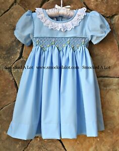 68196878c3eed Details about Smocked A Lot Girls Easter Dress Blue Blossoms Floral Lace  Collar Church Classic