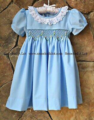 Smocked A Lot Girls Easter Dress Lamb Cross Church Outfit Pink Purple Bunny Lace