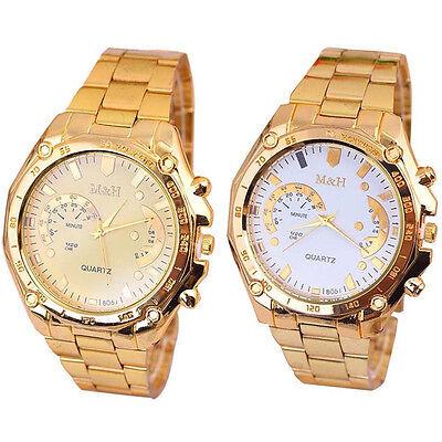 Luxury Men Women Hour Bracelet Stainless Steel Quartz Analog Wrist Dial Watch