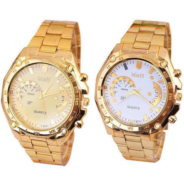 Luxury Men Women Hour Bracelet Stainless Steel Quartz Analog Wrist Dial Watch