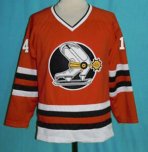 Image is loading RALPH-BACKSTROM-DENVER-SPURS-WHA-RETRO-HOCKEY-JERSEY- 2dae5b60df6