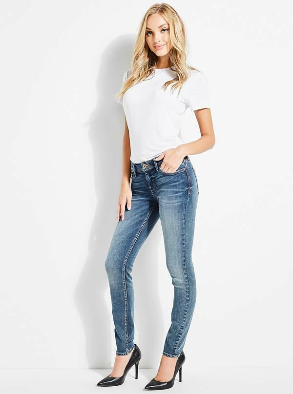 GUESS Women's Low-Rise Skinny Jeans – bluee Wash sz 27