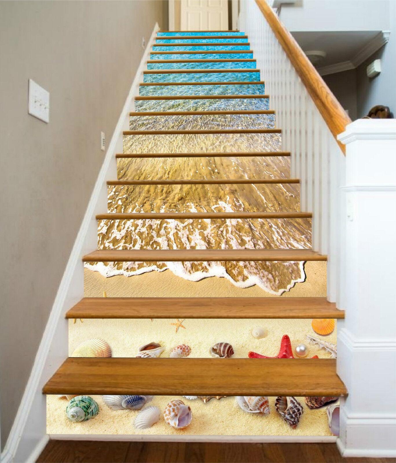 3D Strand Schale 53 Stair Risers Dekoration Fototapete Vinyl Aufkleber Tapete DE