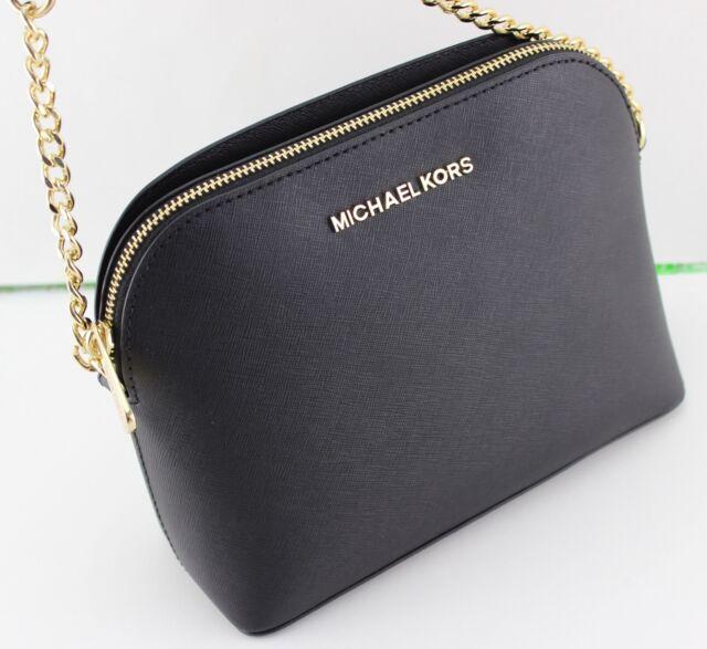 Michael Kors Cindy Crossbody MK Handbag Purse Saffiano Leather Black Bag
