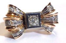 Fabulous! Super Cute! Retro 1950's Diamond 18K Gold Big Bow Ring! Size 5