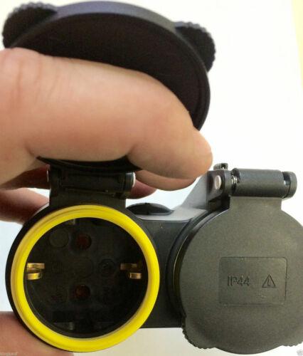EF 1x 2-fach Schuko Verteiler 1*Kupplung an 2*Schutzkontakt GUMMI Adapter QQ