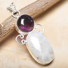 """Fire White Rainbow Moonstone Opal 925 Sterling Silver 2.5"""" Pendant #P14486"""