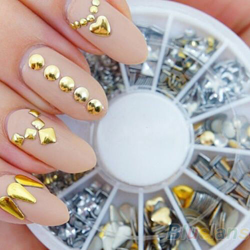 120Pcs Gold Silver Metal Nail Art Tips Fashion Metallic Studs Stickers New B54U