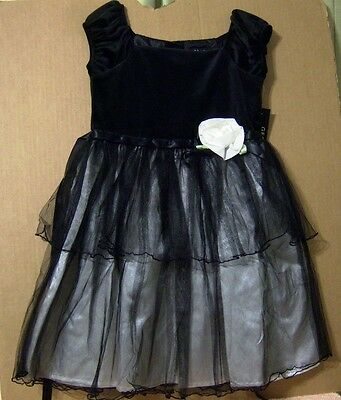 Clothing, Shoes & Accessories Party Dress Velvet Tulle Nwt To Have A Unique National Style Kids' Clothing, Shoes & Accs •¿• George Sz 6x Girl Child Clothes Black Easter