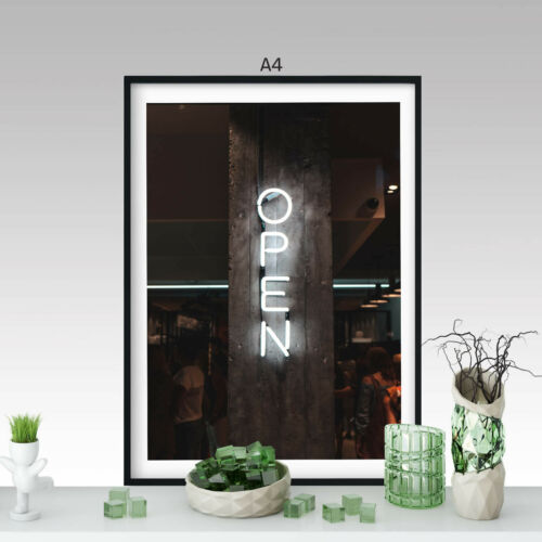 OPEN Neon White Lights Sign A0 A1 A2 A3 A4 Satin Photo Poster a3350h