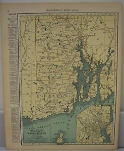Frameable World Map.Antique 1929 Large Map Of Rhode Island Collectible Frameable State