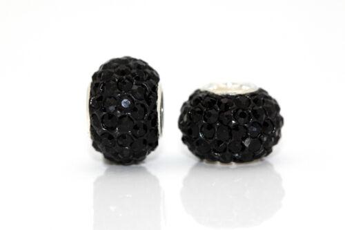 BLACK Sparkling Czech Crystal Charm Bead for Bracelet 925 Sterling Silver Core