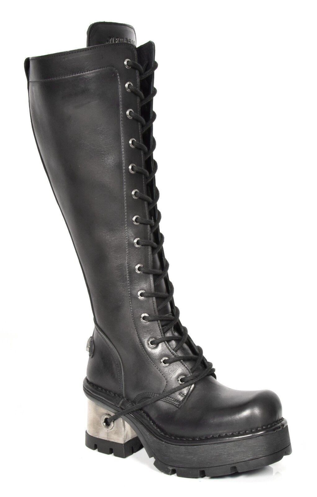 A la venta con descuento del 70%. New Rock mujer Gothic Gothic Gothic Biker Knee Length botas negro Platform Heel Leather zapatos  con 60% de descuento