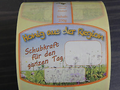 "Etiketten 250g /""Frühtracht//Blütenh./"" naßkl.100 stk Imkerei Imker Aufkleber Honig"