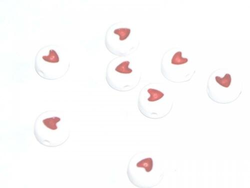 7x4mm 500 ACRYLIC RED WHITE HEART ROUND DISC PONY PLASTIC DUMMY CLIP BEADS