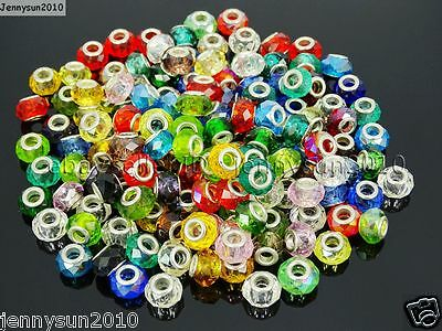 50Pcs Mixed Color Crystal Big Hole Charm Beads Fit European Bracelet or Necklace