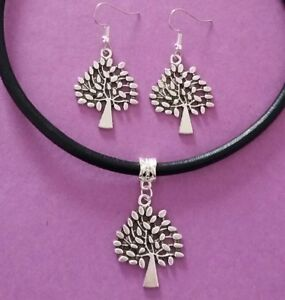 8d9943168378d Details about Black Leather Choker Necklace with Tree of Life Charm &  Matching Earrings Set