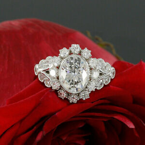 2-00-ct-Oval-amp-Round-Diamond-10k-Real-White-Gold-Cluster-Engagement-Wedding-Ring
