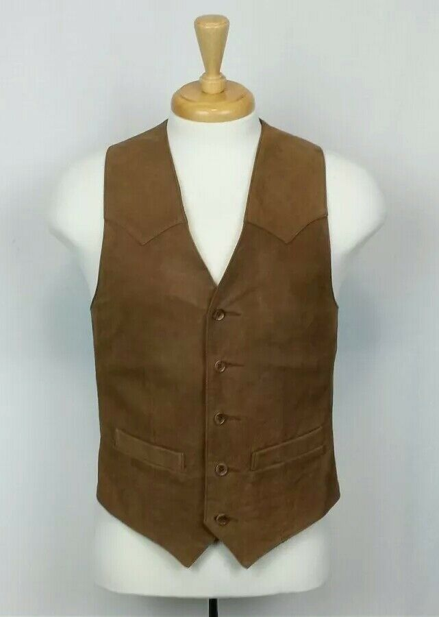 Scully Mens Size 36 Brown Leather Satin Lined Motorcycle Country Western Vest