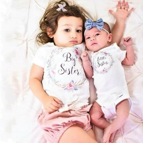 Little Big Sister Brother Baby Romper Boys Girls Kids T-shirt Matching Outfits