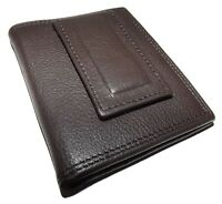 London Stitch Leather Bifold Front Pocket Id Wallet With Money Clip Brown