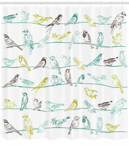Shower Curtain Birds Colorful Drawing Apartment Decor White 84 Inches Extra Long