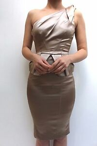 87a7e859 Image is loading Karen-Millen-Gold-One-Shoulder-Bodycon-Satin-Pencil-