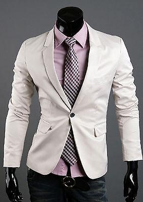 IVORY S//M Mens Luxury Slim Fit Spandex Cotton Jacket Jumper Blazer Suits Top