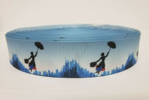 "Mary Poppins Blue Grosgrain Ribbon 1/"" By the yard NEW Disney"