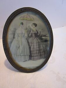 Antique Oval Brass Easel Frame Convex Glass Print Godeys Paris