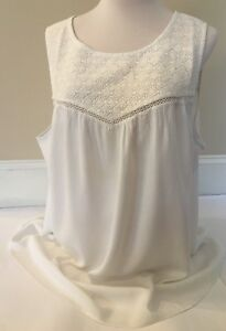Old-Navy-Sleeveless-Tank-Lace-White-Yoke-Top-Blouse-Shirt-for-Women-Size-1X-NEW