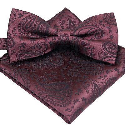 Brand New Wine Paisley Jacquard Mens Fashion Bow tie and Pocket Square SET B1223