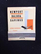 Matchbook Cover - Newport Balboa Savings Newport Beach CA 1950's Agnes Blomquist
