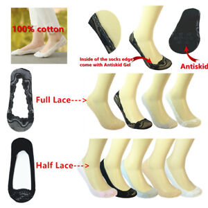 100-Cotton-Lace-Antiskid-Invisible-Liner-No-Show-Peds-Low-Cut-Socks-for-Women