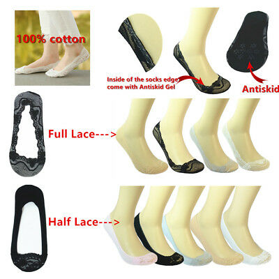 MYAFASHION Woman Lace Antiskid Invisible Liner No Show Peds Low Cut Sock 3 Pairs
