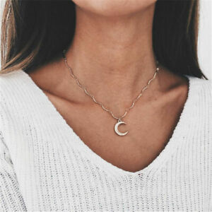 2019-Fashion-Simple-Choker-Necklace-Crystal-Moon-Chain-Gold-Women-Summer-Jewelry