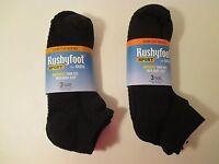 6 Mens Kushyfoot Cushioned Low Cut Massaging Sport Black Socks10-13shoe 7-12